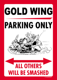 GOLD WING PARKING ONLY sign
